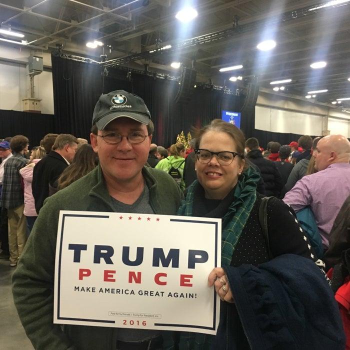 Jodi Perkins, right, at Trump's Wisconsin Thank You rally