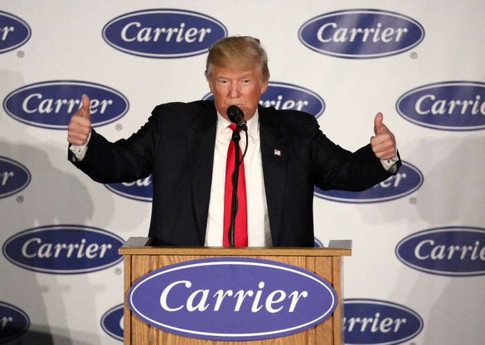 U.S. President-Elect Donald Trump speaks at an event at Carrier HVAC plant in Indianapolis, Indiana.
