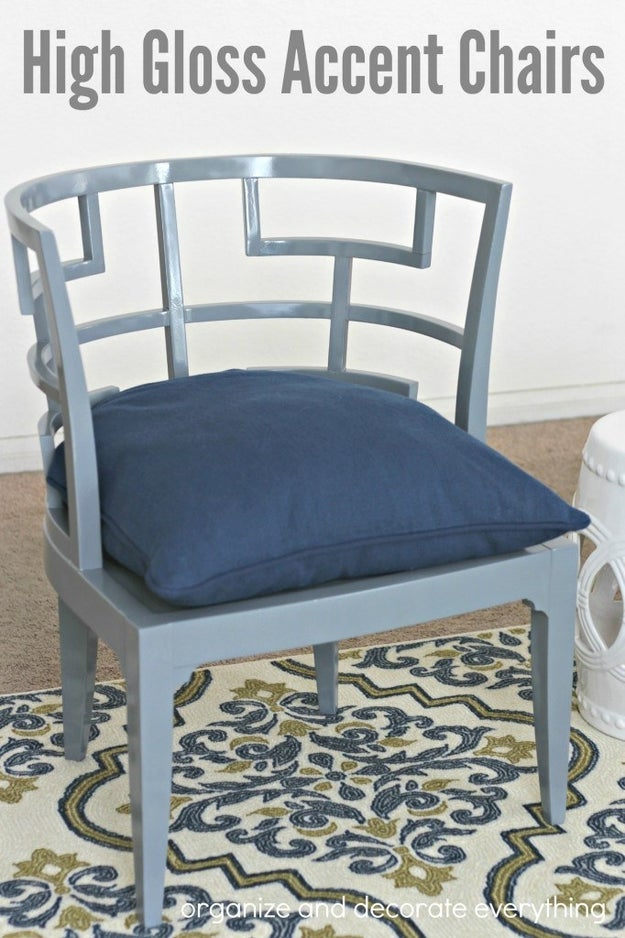 Make over a pair of old accent chairs with a new high-gloss paint job.