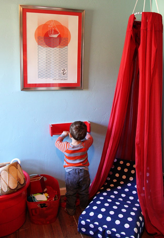 Turn an empty corner into an adorable reading nook for growing book worms.