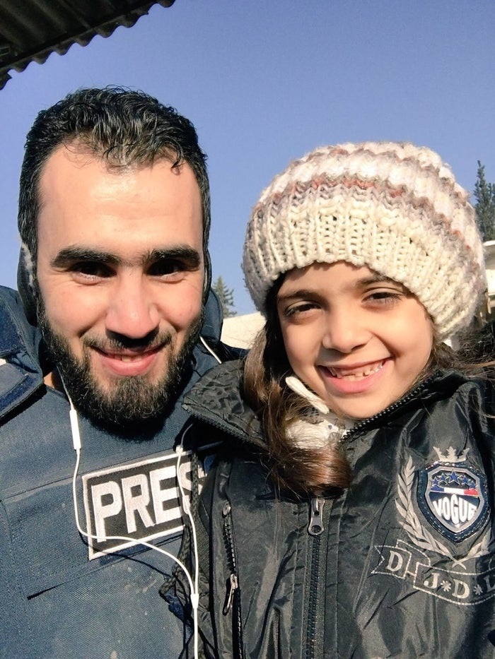 Bana with a journalist from eastern Aleppo.