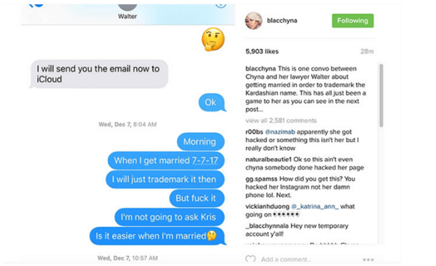 Then a long list of text messages purportedly between Chyna and other people were posted. One detailed her plans to trademark her name once she and Rob got married.