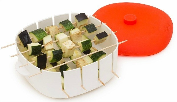Whip up your favorite grilled treat, minus the grill, with this kabob maker and cookbook set.