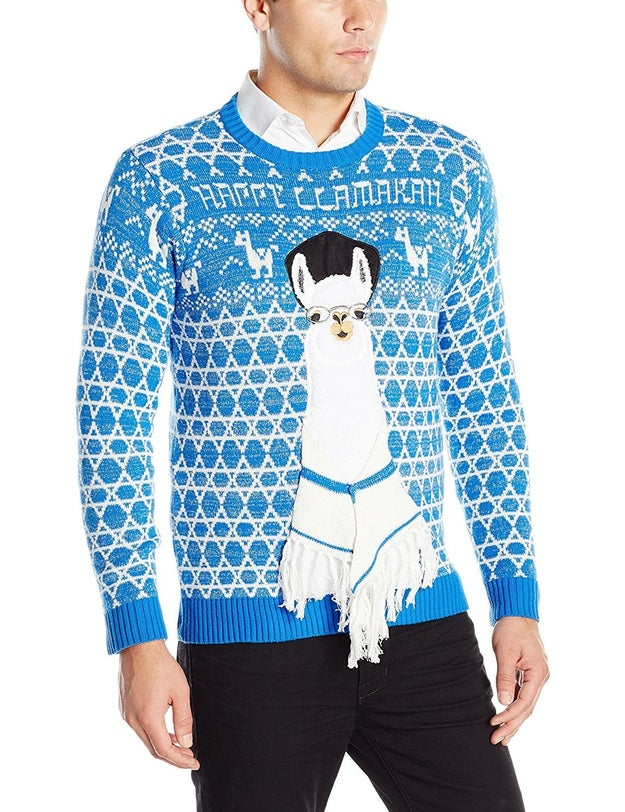 "A ""Happy Llamukah"" sweater with 3D tallit detail."