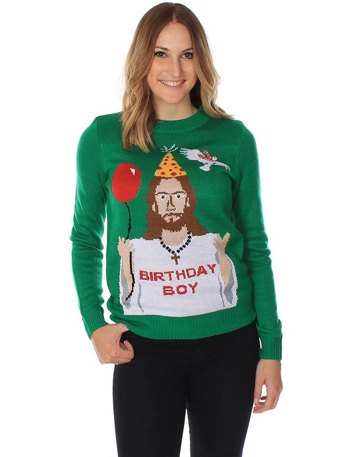 a sweater that gives it up for the guy who made it all possible - Balls Christmas Sweater