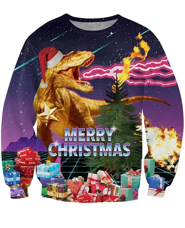 A Christmas sweatshirt that reminds us what this season is really about, and that's T. rex Santa Godzilla shooting lightning out of its mouth while comets rain down from the skies.