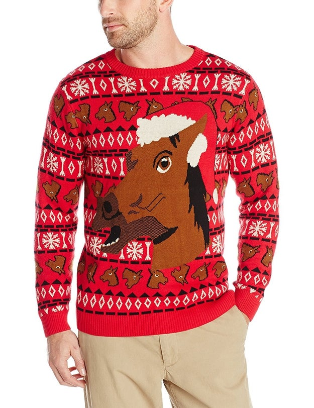 A creepy horseface sweater to match your creepy horseface mask.