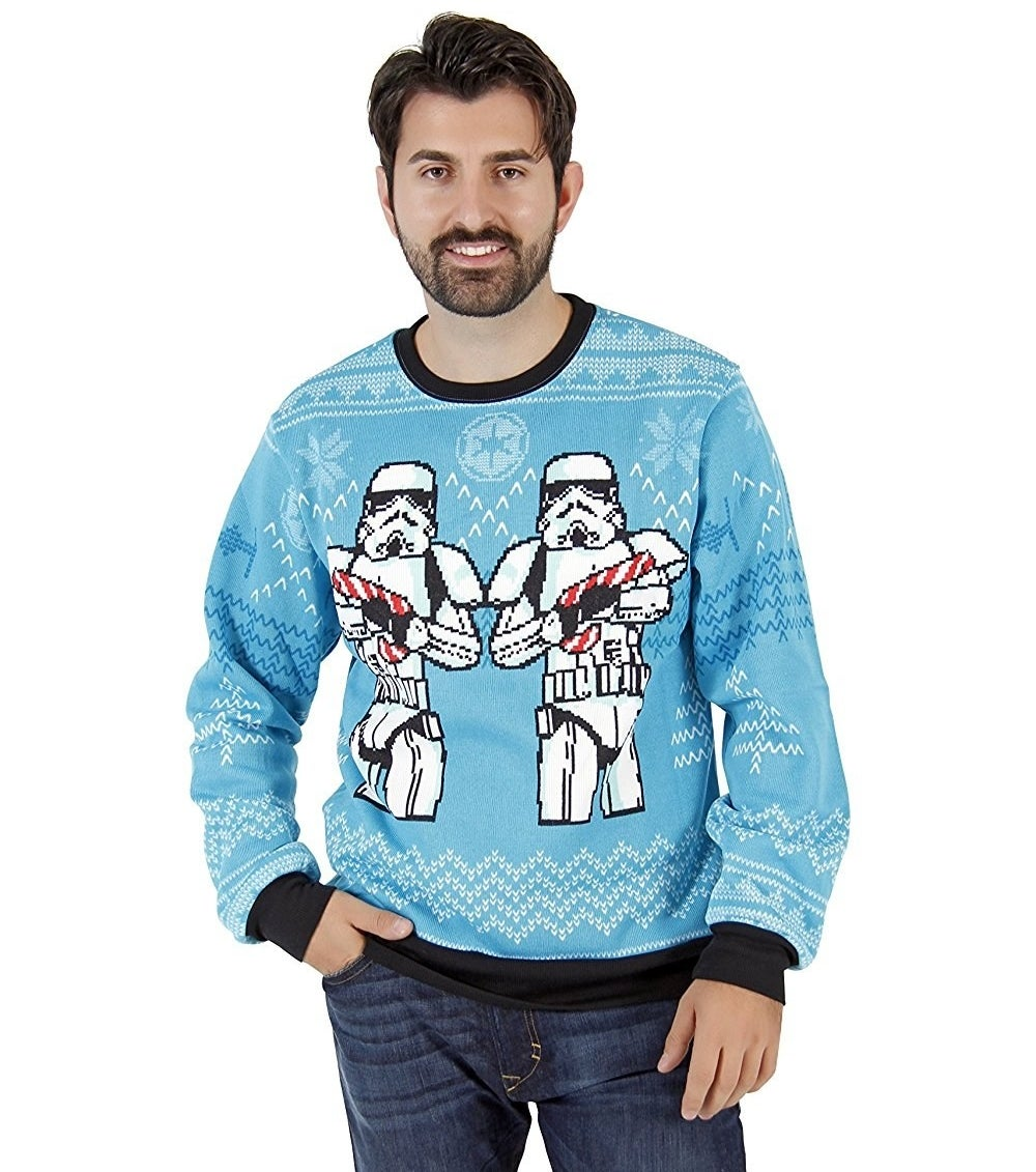 A sweater with Stormtroopers firing Christmas cheer lasers out of candy-cane guns.