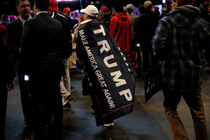 """Supporters at Trump's USA """"thank you"""" tour event in Cincinnati on Dec. 1."""