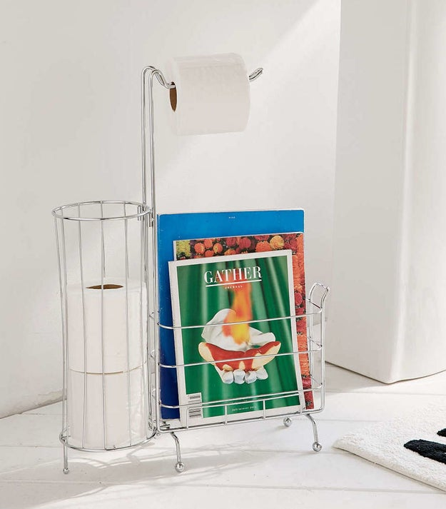 A bathroom caddy that stores all your pooping essentials.
