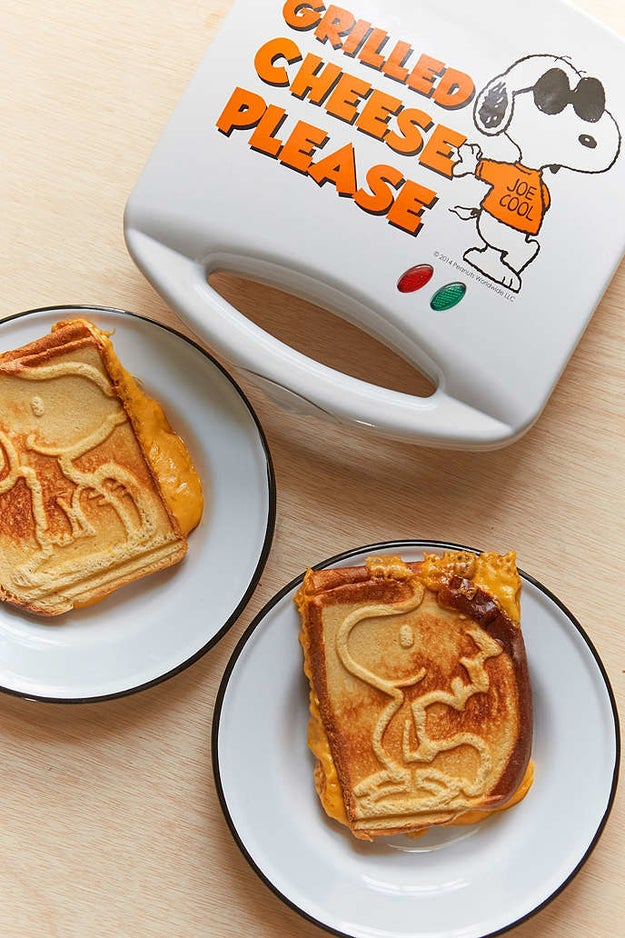 A grilled-cheese maker that decorates your sandwiches with Peanuts' finest duo.