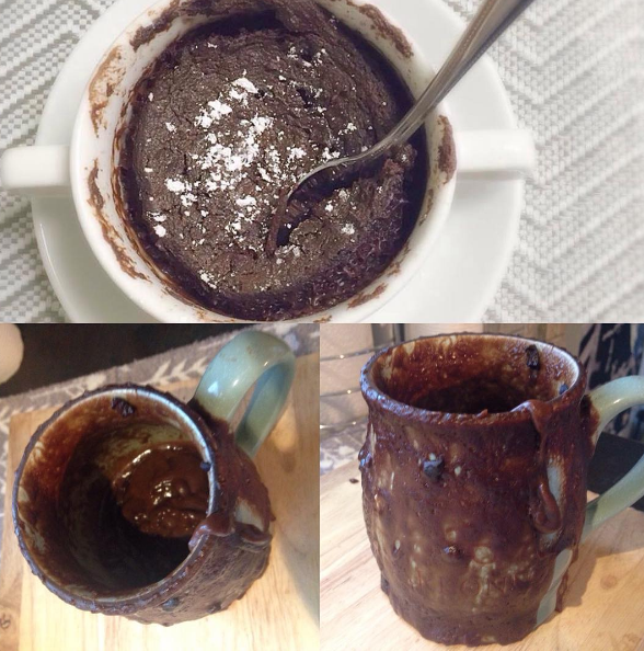 This mug cake, which now looks like a shit waterfall.