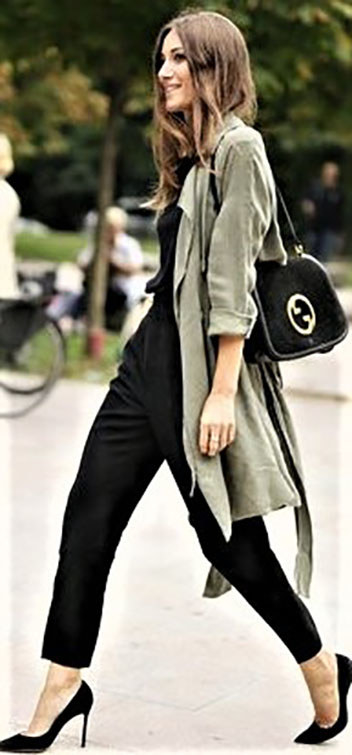 3.Give your jumpsuit some serious boho vibes with a long trench coat.