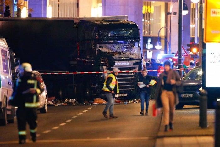 The truck rammed through market stalls next to the Kaiser Wilhelm Memorial Church in Breitscheidplatz.