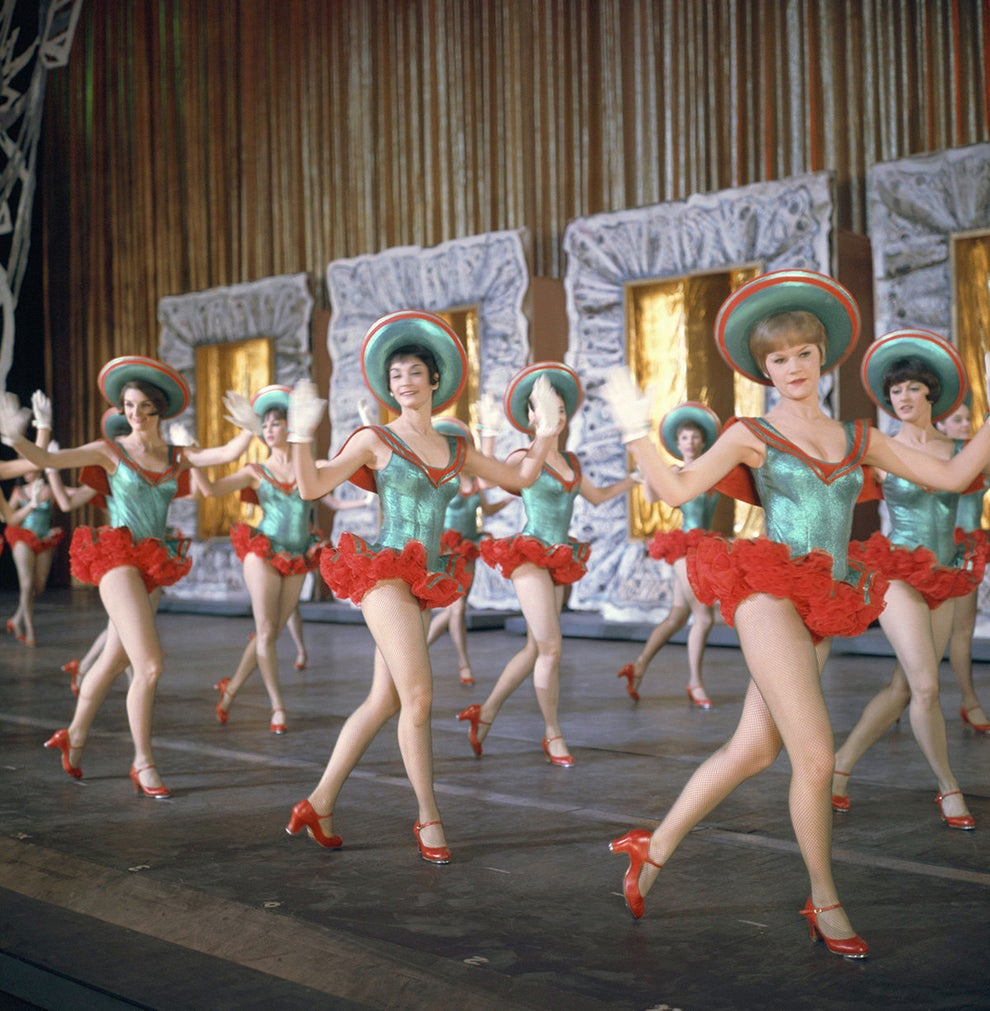 The iconic sight of The Rockettes performing a dance number in 1967.
