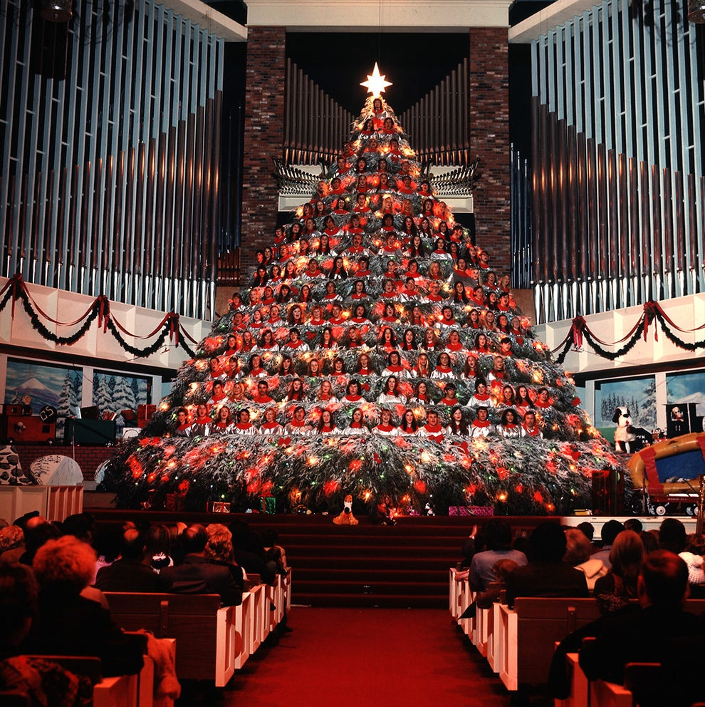 "This ""living"" Christmas tree comprising what has to be the most incredible troupe of carolers in history, 1971."
