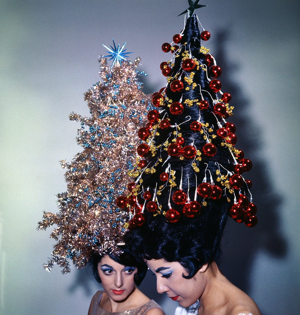 These festive 42-inch hairdos decorated with tinsel and ornaments in 1962.