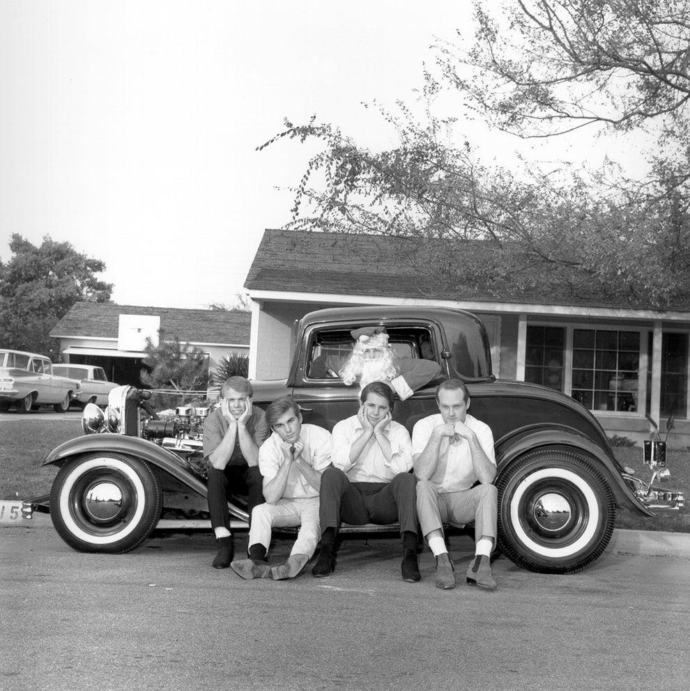 The Beach Boys celebrating a California Christmas in 1963.
