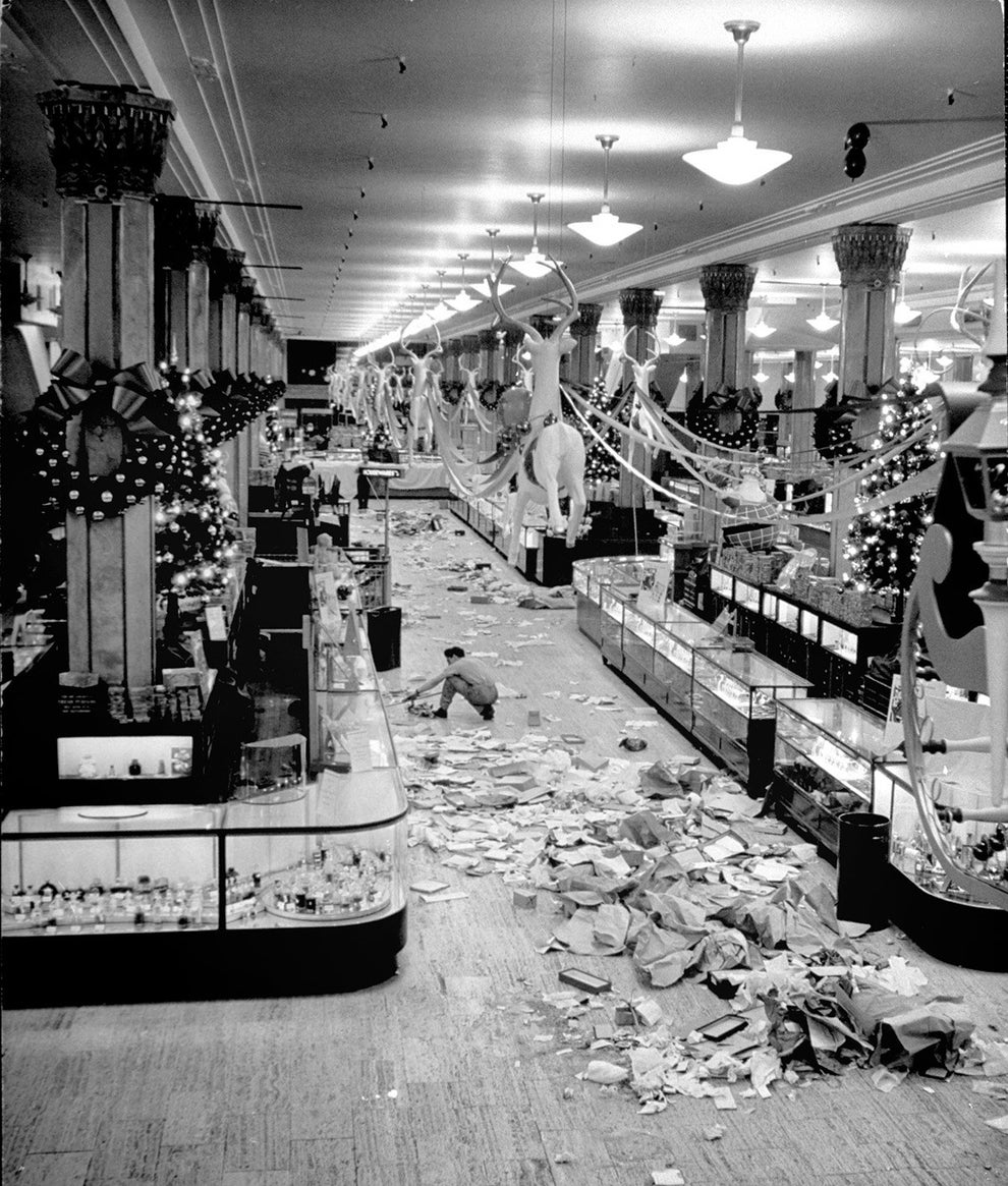 And the aftermath of the shopping rush at NYC's Macy's department store in 1948.
