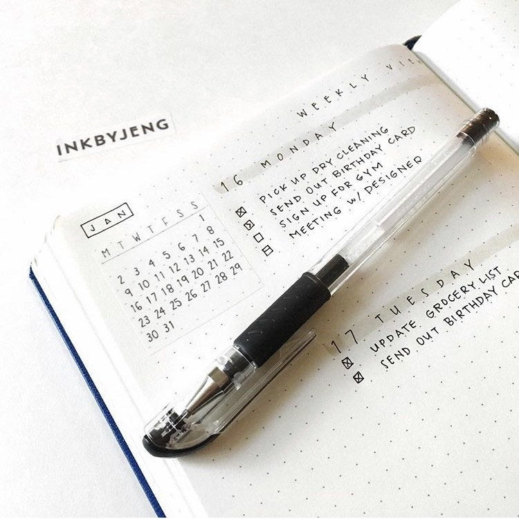 minimalist bullet journal - task list with small calendar for the month for a quick reference