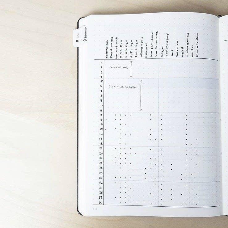 minimalist bullet journal - using dots