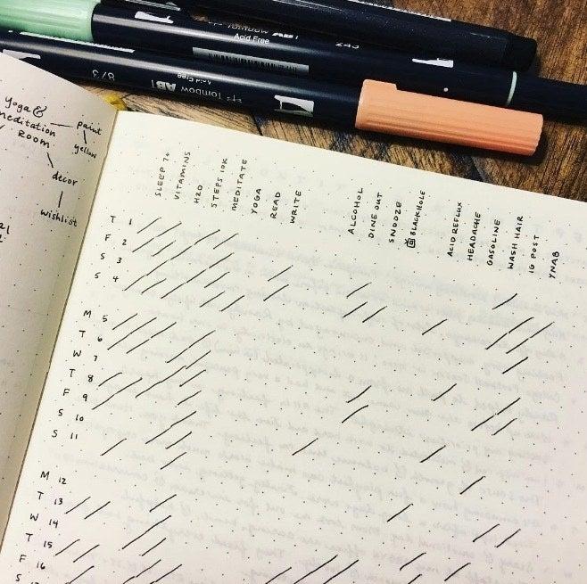 minimalist bullet journal - habit tracker using diagonal lines to symbolize completing a habit