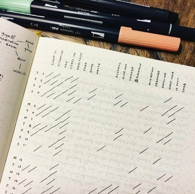 minimalist bullet journal - habit tracker using diagonal lines to symbolize completing a habit