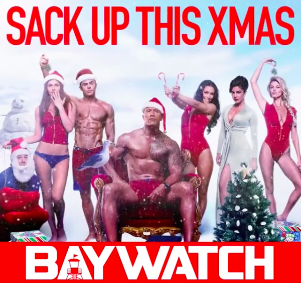 The Rock sent several holiday greetings including this Baywatch-themed one...