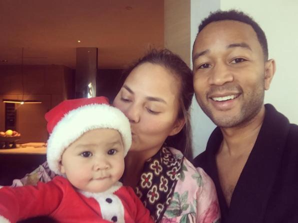 Chrissy Teigen and John Legend celebrated baby Luna's first Christmas.