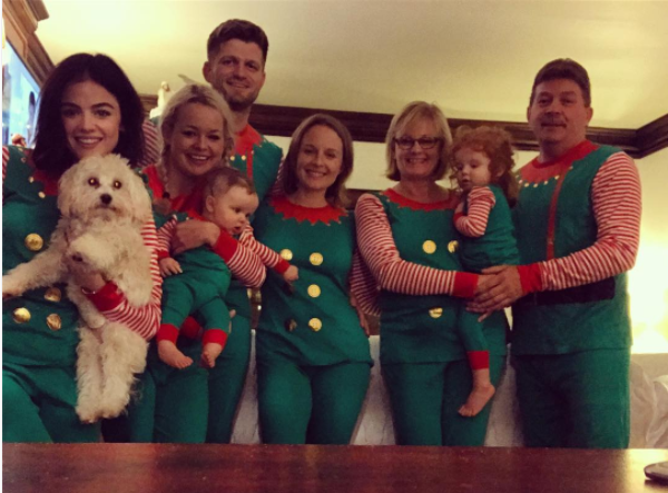 Lucy Hale's family wore matching getups.