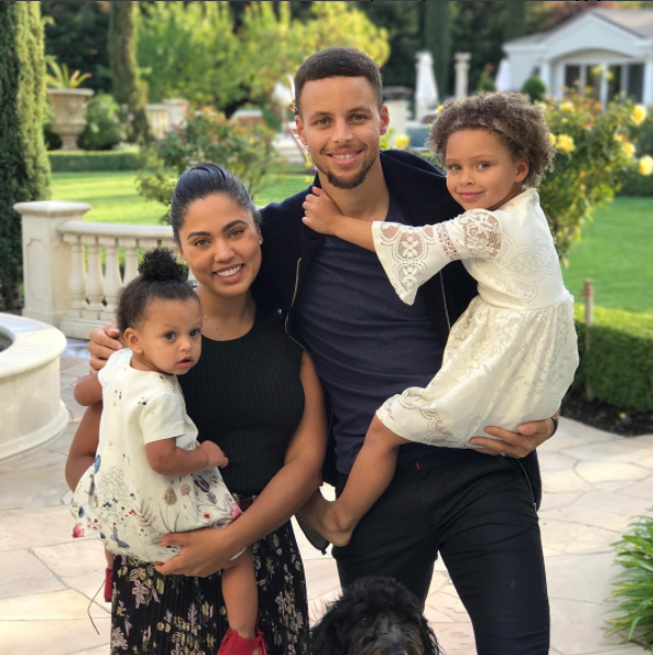 The Curry family shared a cute family photo.