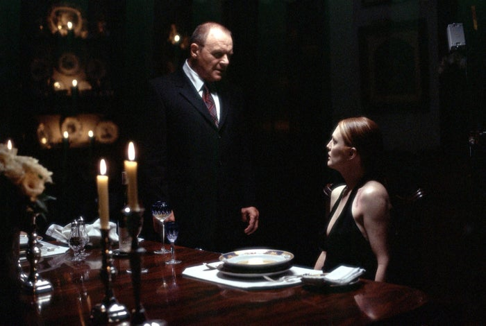 Anthony Hopkins as Hannibal Lecter and Julianne Moore as FBI Agent Clarice Starling in Hannibal.