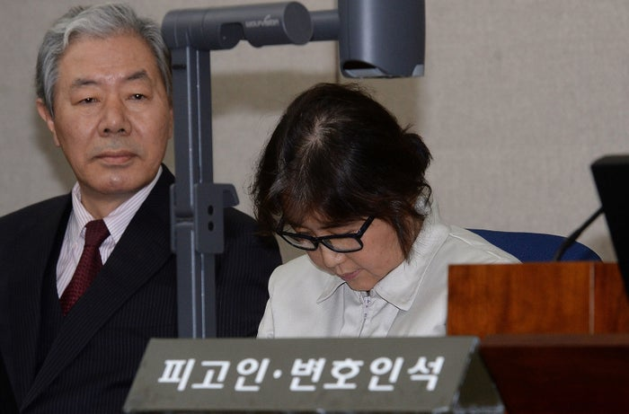 Choi Soon-Sil, the jailed confidante of President Park Geun-Hye, at the start of her trial