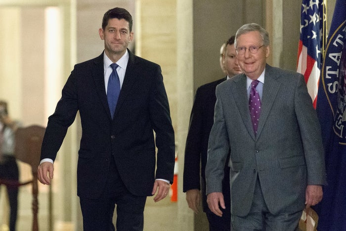 Speaker of the House Paul Ryan, a Wisconsin Republican, (left)and Senate Majority Leader Mitch McConnell, a Kentucky Republican.