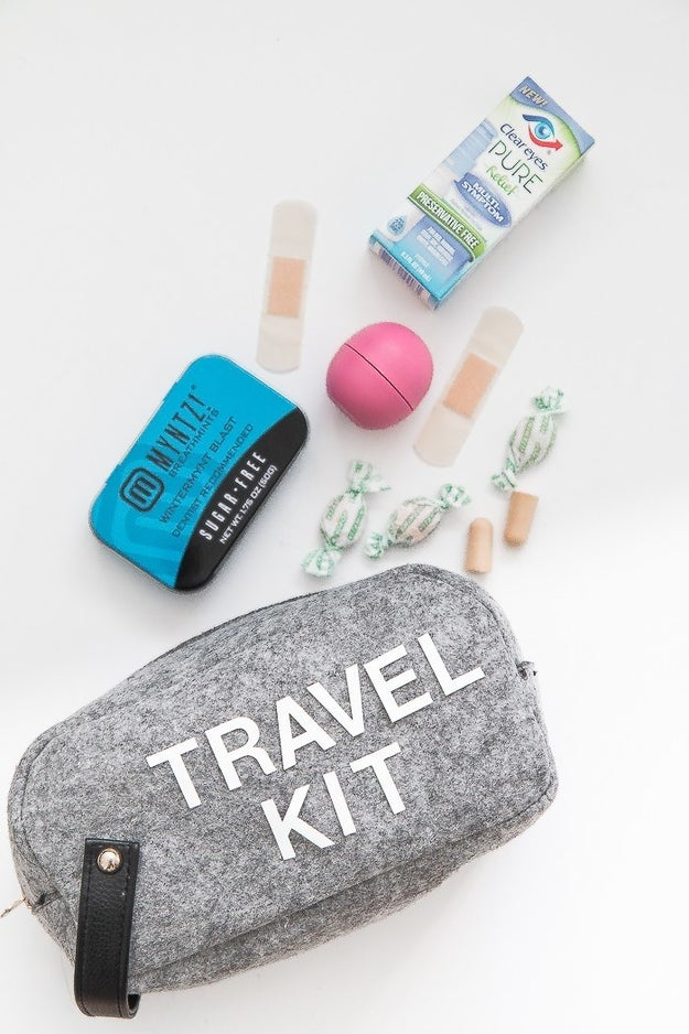 To keep from tossing random extras into your passenger seat, fill an old travel kit or pencil case with things you can't go without, and stow it in your glove compartment.