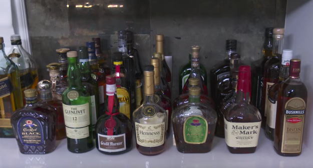 Her booze collection