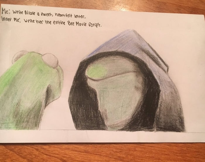 """""""We make a lot of jokes about Bee Movie,"""" he said. """"And I'm pretty decent at drawing so I figured I could draw the Kermit meme.""""""""Me: Write Nicole a sweet, heartfelt letter.""""Inner me: Write her the entire Bee Movie script,"""" the card said."""
