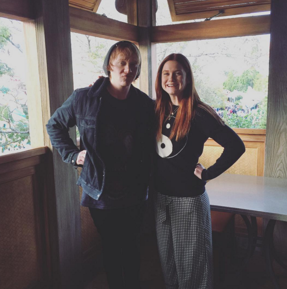 In 2016, the Weasley family was back at it again with another reunion! Rupert Grint and his fictional little sister Bonnie Wright hung out together at the Wizarding World of Harry Potter in Orlando in January and shared this picture on Instagram. Grint and Wright were also joined by Evanna Lynch, Matthew Lewis, and Katie Leung for a fan event at the theme park that weekend.