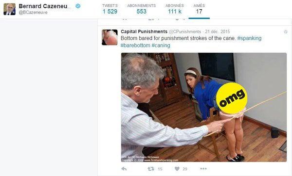En mai 2016, le compte Twitter de Bernard Cazeneuve se fait remarquer pour un tweet liké, particulièrement étonnant. On y voit une jeune femme recevoir une fessée, sur une photo publiée par un compte pornographique. Rapidement, le cabinet du ministre réagit, et plaide l'action d'un plaisantin qui aurait eu accès au compte officiel de celui qui était alors ministre de l'Intérieur. Le like est finalement retiré.