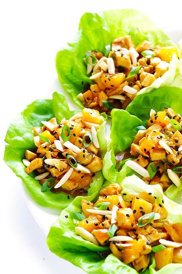 For a really good, low-carb dinner.Find the recipe for orange chicken lettuce wraps here.