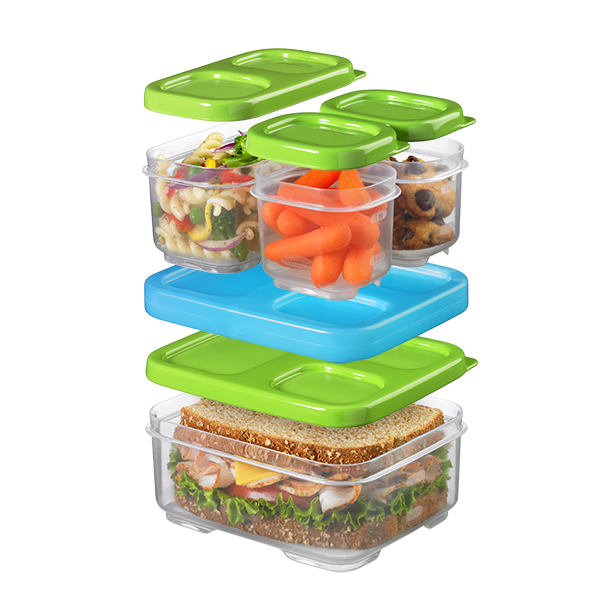 A modular lunch container kit that snaps together.