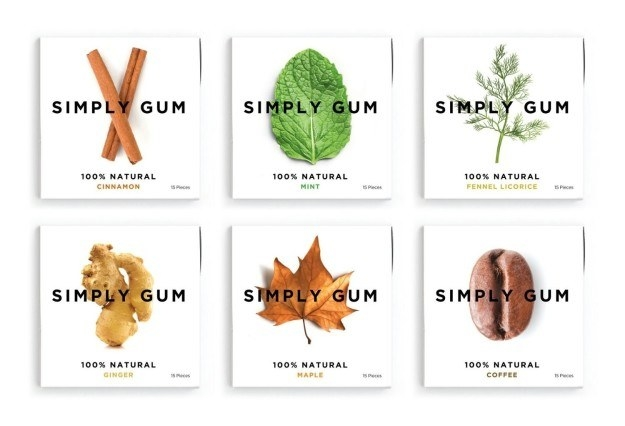 A six-pack variety of gum that's made from natural ingredients.
