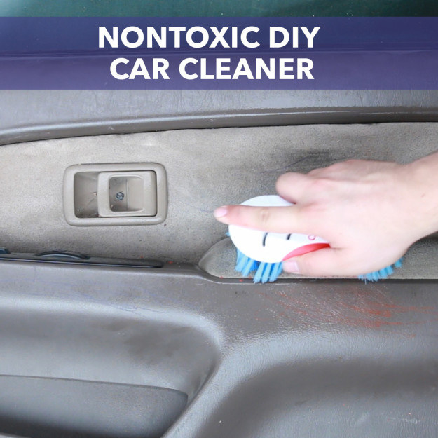 Easily clean up grime in your car's interior using this car cleaner, which is made out of household items.