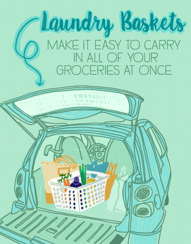 Leave laundry baskets in your trunk so that you can carry all of your purchases out in one or two trips.