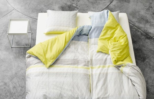 If you sleep with a partner, try replacing your single set of bed covers with two twin sheets and two duvets.