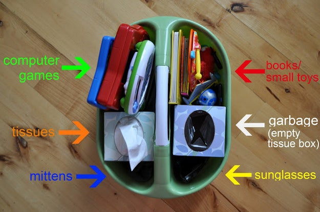 For especially long car trips, you can prep a whole bunch of things for them to do using a shower caddy.