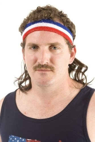 A headband with mullet hair attached to it.