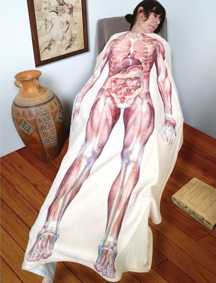 A fleece throw blanket that reminds others what you look like without skin.