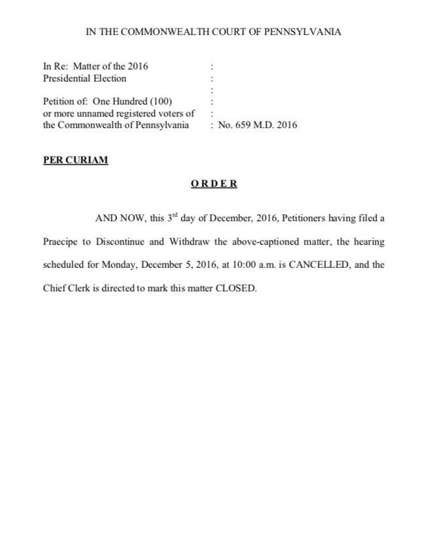 Read the court's order closing the statewide recount matter: