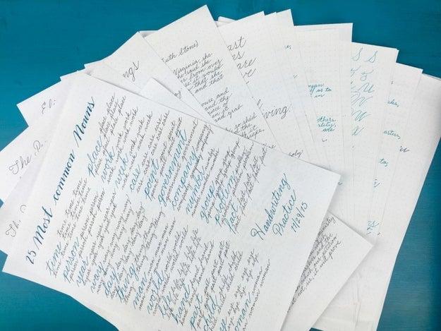 Prática geral de escrita à mão